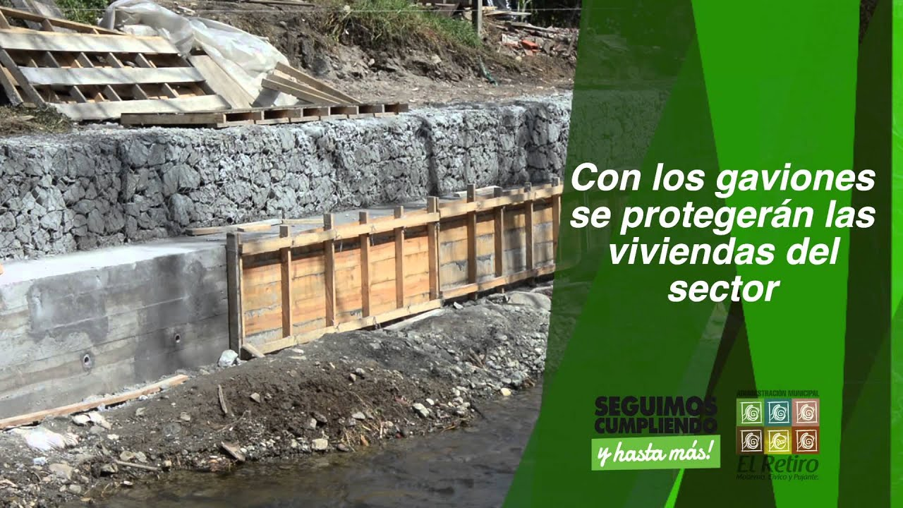 Construcci n de gaviones del barrio el pino youtube for Construccion de piletas paso a paso
