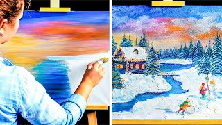 HOW TO PAINT A MASTERPIECE || Oddly Satisfying Painting For Beginners