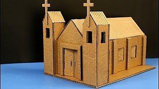 como hacer una iglesia de cartón #2 ( cardboard church) MUY FÁCIL DE HACER