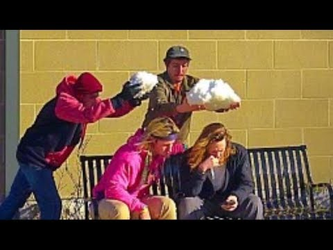Throwing Snowballs at People Prank