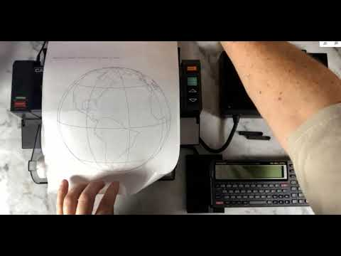 Printing globe with Casio Z1-GR computer, FA-6 device and FP-100 printer Plotter