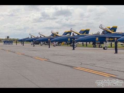 US Navy Blue Angels Preflight Walk Down and Startup - Cleveland National Airshow 2014