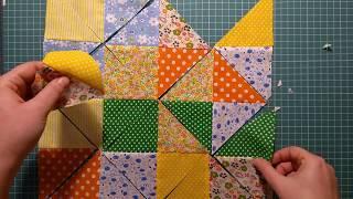 """Пэчворк для начинающих. 4 способа превратить квадраты в блок """"песочные часы"""" ускоренным методом"""