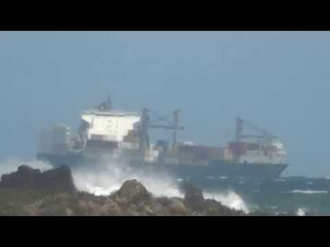 =Rough Weather Cook Strait Pt1= BELLA Container Ship