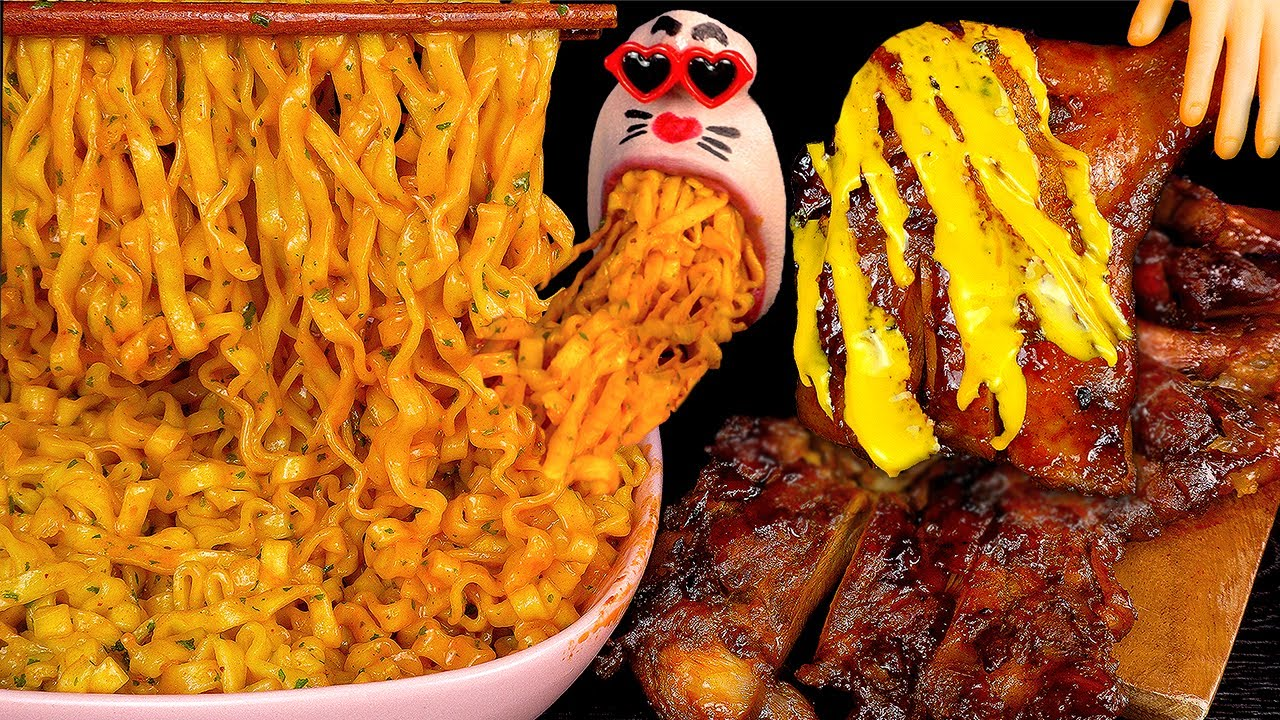 ASMR MUKBANG Carbo Spicy Chicken Noodles & Cheese Barbecue Chicken EATING SHOW (4K)