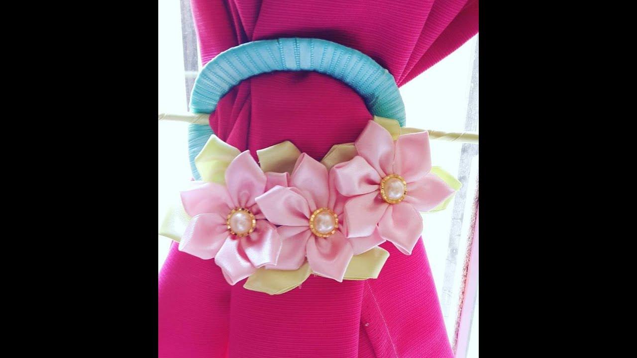 Sujetador prendedor de flores de tela para cortinas con for Ganchos para cortinas de tela