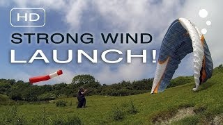 Paraglider Control: Strong Wind Launching (Simple Depower)