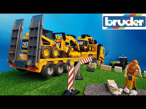 BRUDER TOYS bobcat frontloader TRANSPORT video for kids!