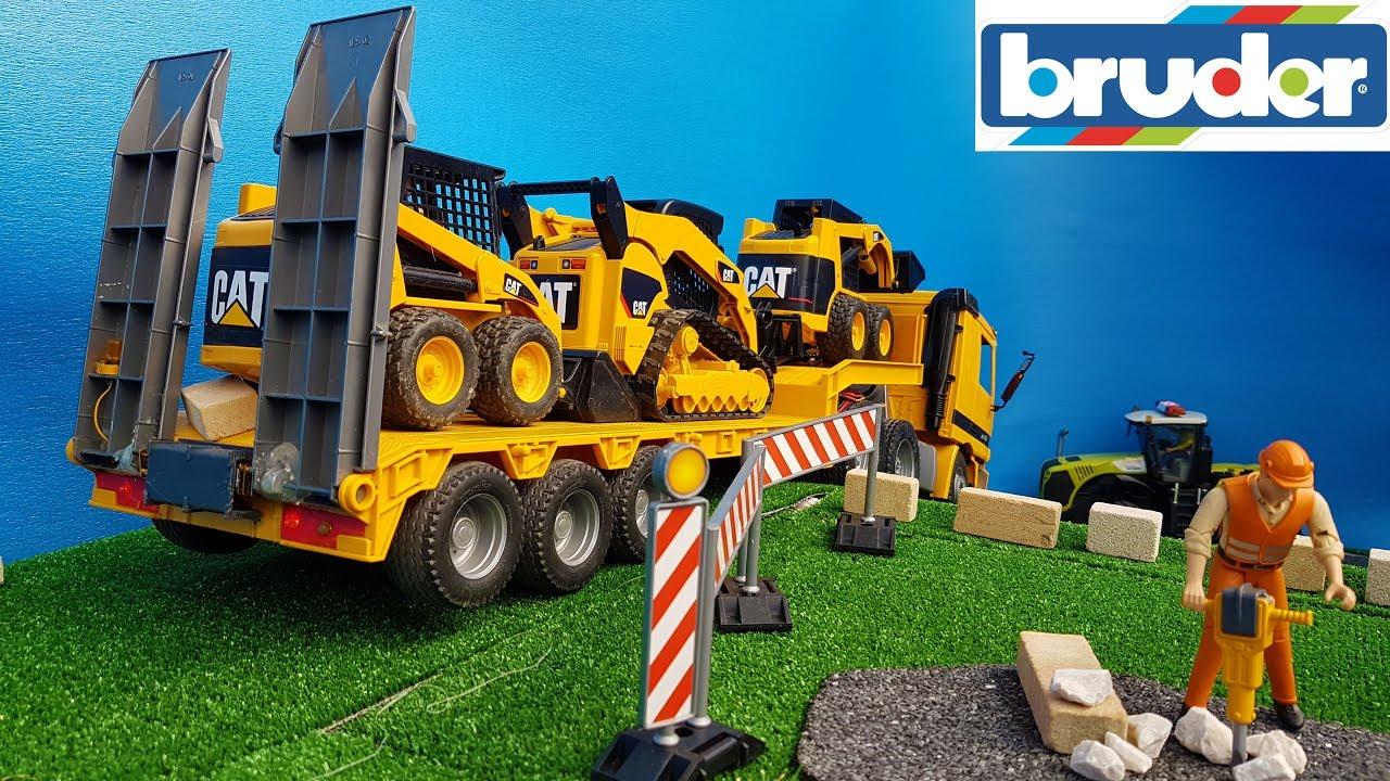 Download BRUDER TOYS bobcat frontloader TRANSPORT video for kids!