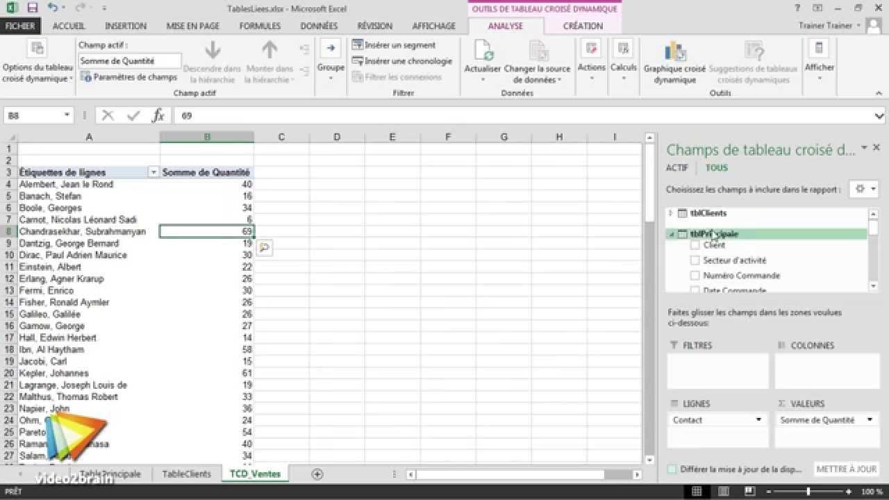 Excel 2013 : Options et outils OLAP des tableaux croisés dynamiques -  trailer | video2brain com