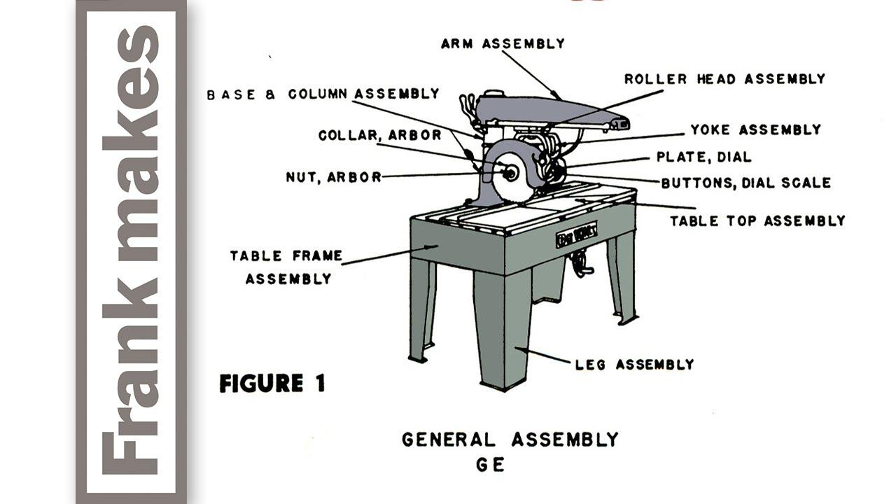 dewalt ge radial arm saw youtube sears radial arm saw 113 197150 parts list radial arm saw diagram [ 1280 x 720 Pixel ]