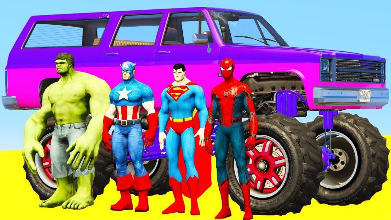 Большая Машина Джип Монстр Трак и Человек Паук - Мультики ...