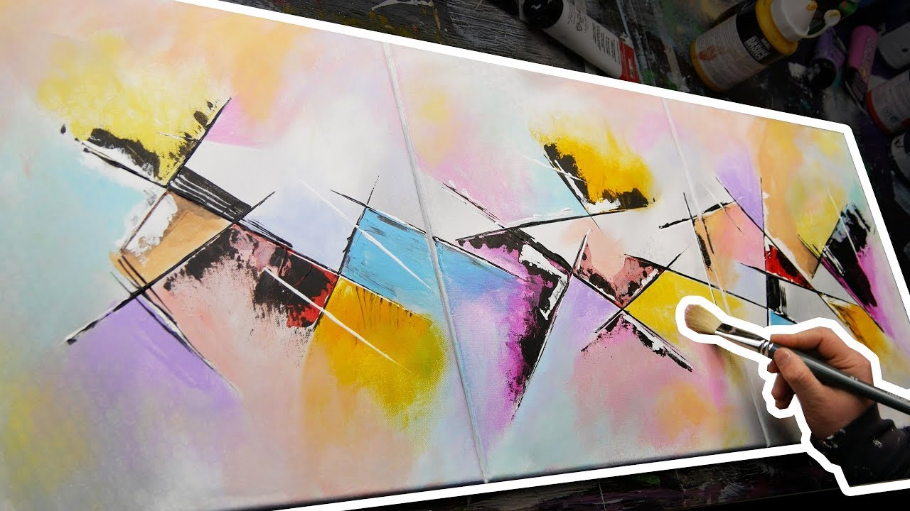 Creation Of An Abstract Acrylic Painting With A Knife Keen
