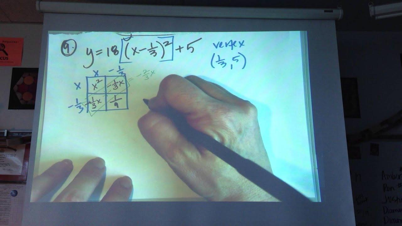 Printables Of Advanced Math Worksheet Vertex Form To