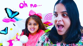 Ashu and mom make a mess with toys in play house