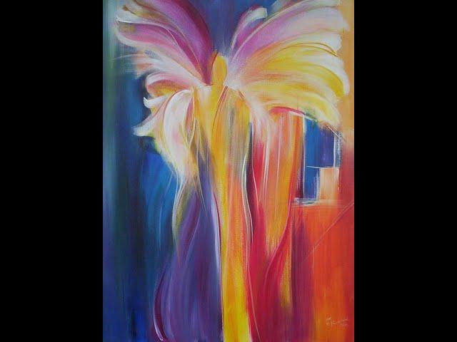 Elke malt - Über die Schulter geschaut - Engel in kraftvollen Farben