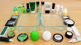 Green vs White Mixing Makeup Eyeshadow Into Slime! Part 59 Satisfying Slime Video