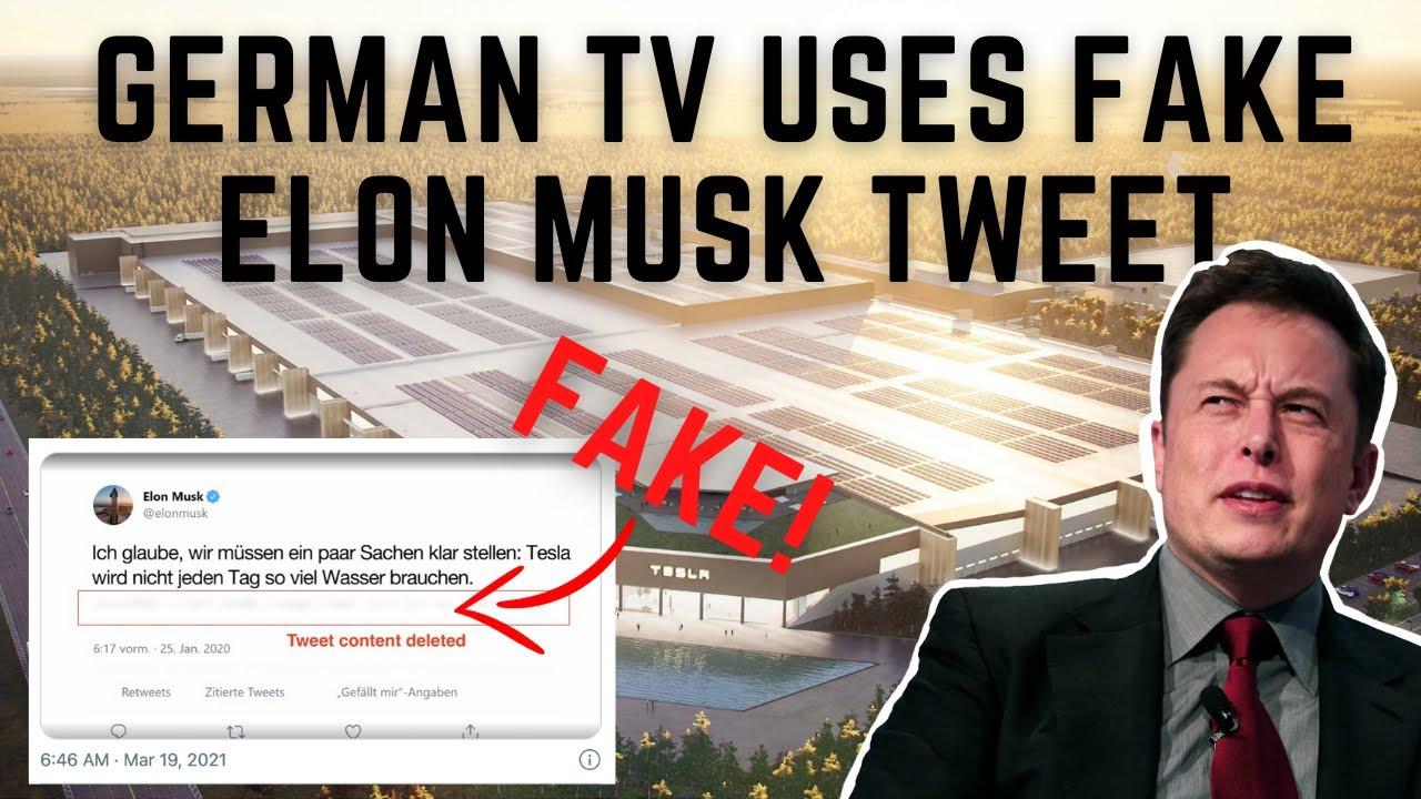 German public TV attacks Tesla and uses FAKE Elon Musk Tweet