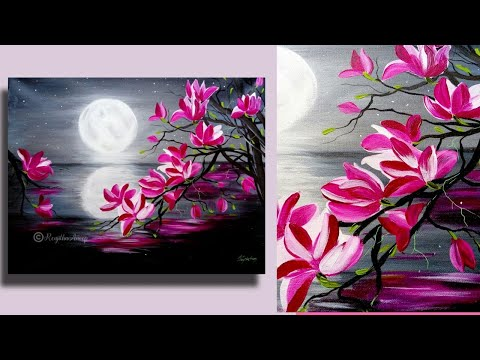 Step by Step acrylic painting on canvas for beginners | moon light night Painting | Tree of Magnolia