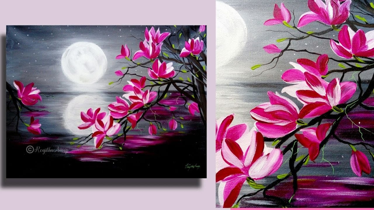 Step By Acrylic Painting On Canvas For Beginners Moon Light Night Tree Of Magnolia Youtube
