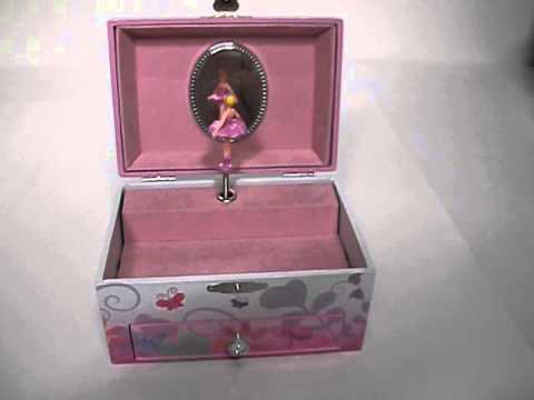 Little Girls Ballerina Key Wind Jewelry Music Box wDrawer Plays