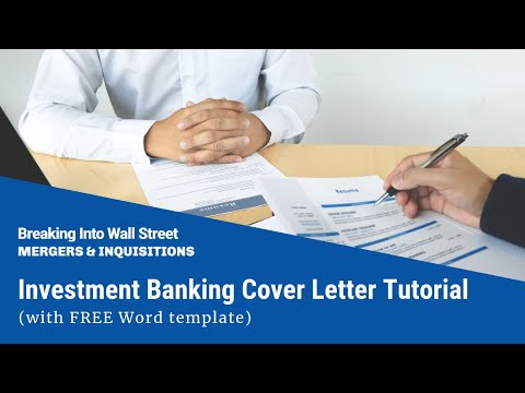 Investment Banking Cover Letter Tutorial (with FREE Word Template)   YouTube