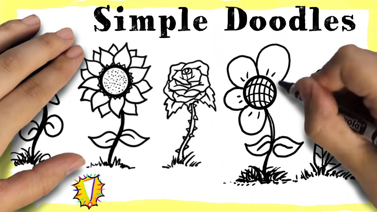 How to Doodle Art for Beginners - 5 SUPER SIMPLE Flowers!