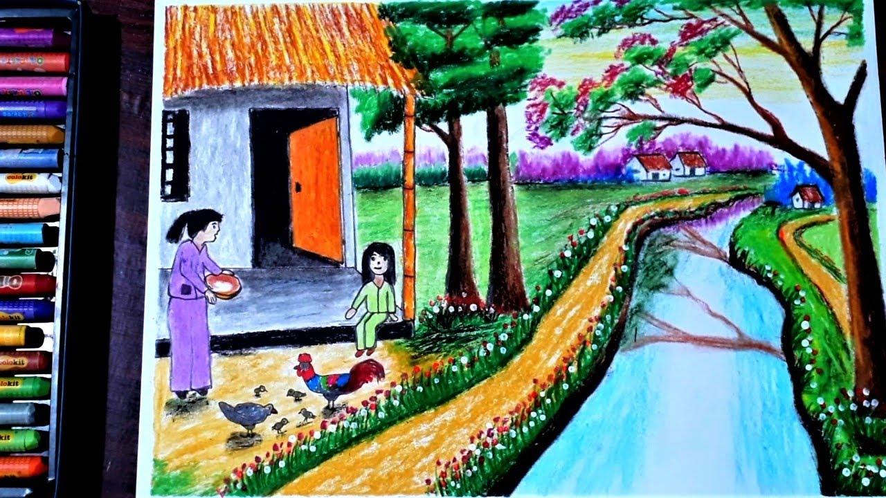 Hướng dẫn vẽ tranh phong cảnh mùa hè bằng màu sáp dầu – hung art