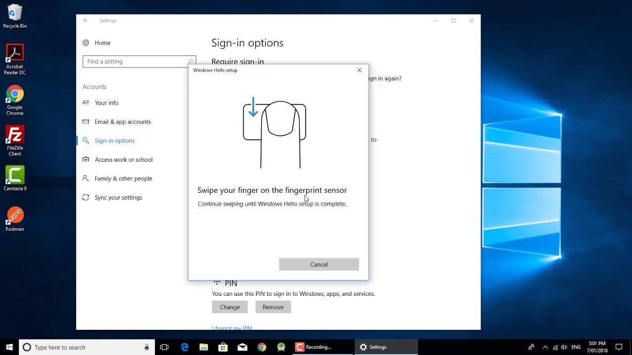 How to setup finger print lock in windows 10 using HP laptop