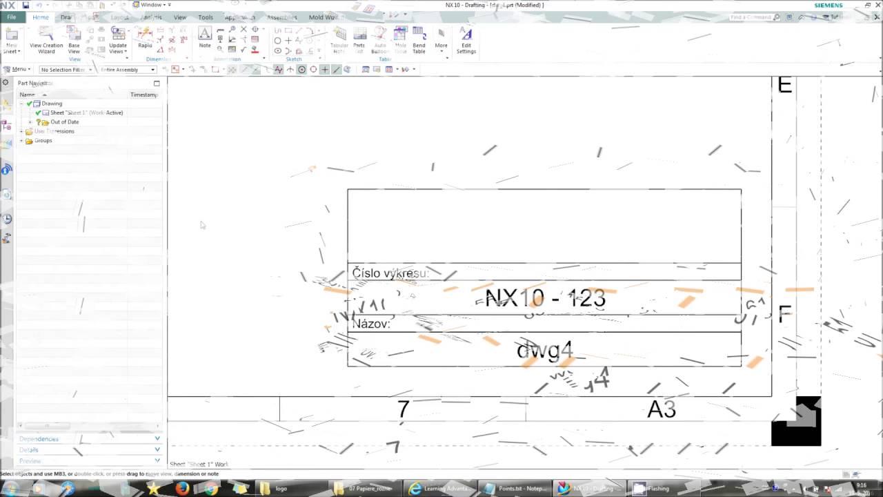 Tipy Nx Cad Sablona Vykresu V Nx10 Youtube