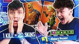 Giving Little Brother 20 FREE SKINS Every Kill In Fortnite: Battle Royale (How To Get Free Skins)