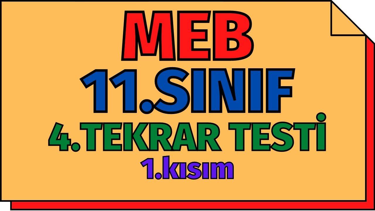 11.Sınıf Kimya 4.Tekrar Testi - 1.Kısım MEB   AYT 2020
