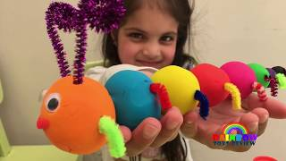 Caterpillar DIY Play Doh for Kids Baby Learn Colors with Play Dough Children Fun Creative Activity