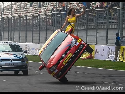 VW Polo Stunt show at BIC, Side Wheelie at 2015 JK Tyre Championship