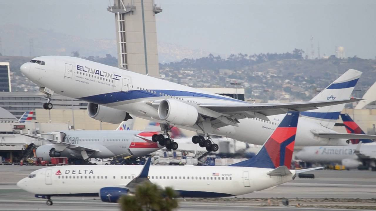 El Al Israel Airlines Boeing ER XECA Takeoff From LAX - Flights to israel from lax