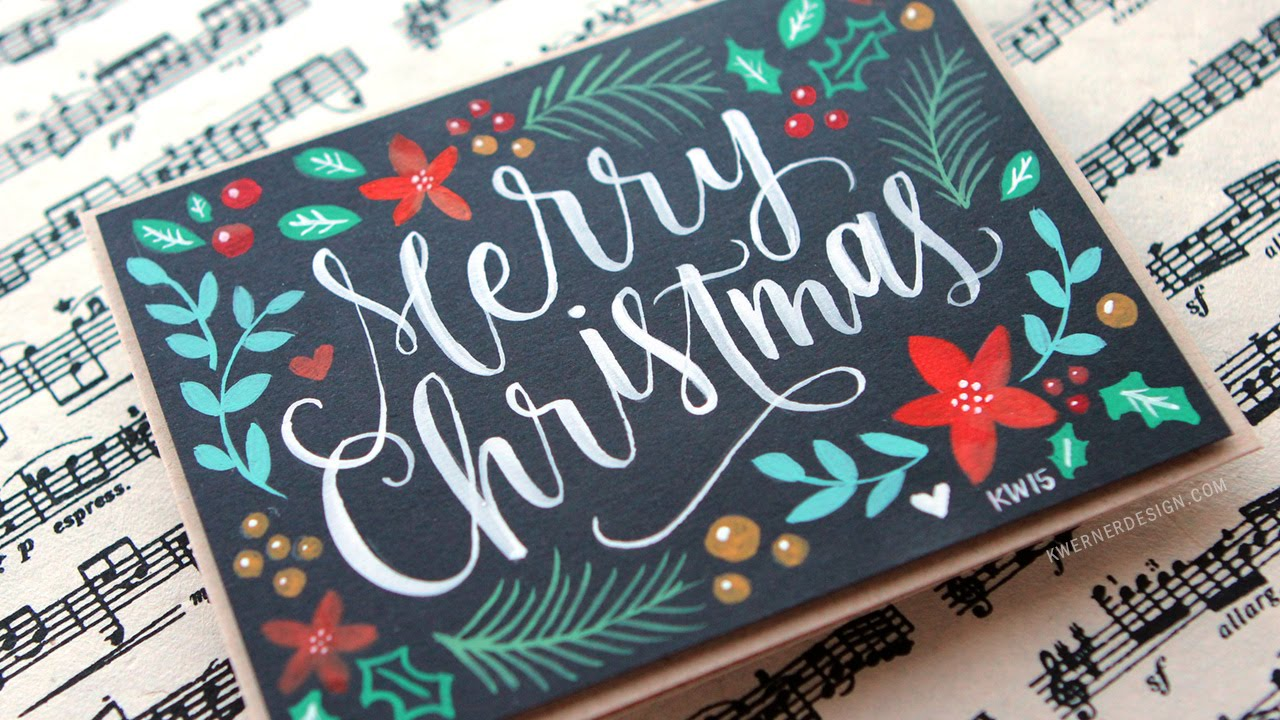 Brush lettering hand painted christmas card youtube for Painted christmas cards