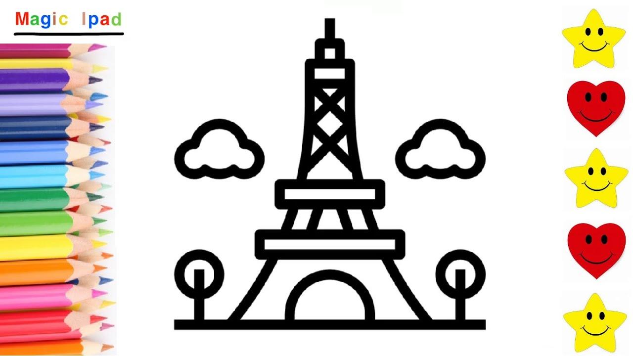 Como Dibujar La Torre Eiffel De Paris Dibujos Para Niños How To Draw Eiffel Tower Kids Youtube