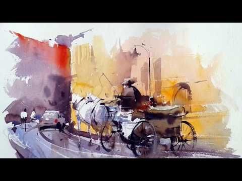 Watercolor Landscape Paintings Slide Show – Artist Amit KAPOOR – India – Part 3