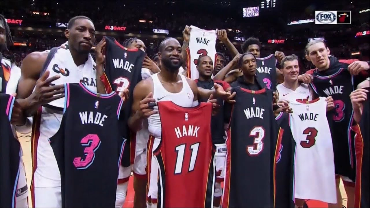 buy online 3c096 4a811 April 09, 2019 - FSS - Dwyane Wade & Entire Miami Heat Team Jersey Exchange  in Final Home Game