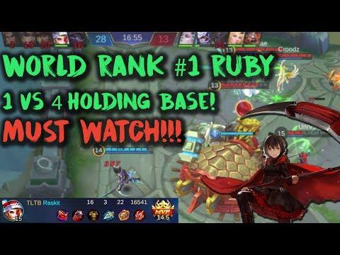 World Rank #1 Ruby 1vs4 Holding Base! Almost 90% Kill Contribution! INSANE!! Mobile Legends