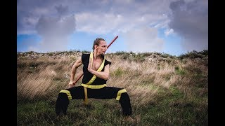 Комплекс упражнений с шестом № 3. Простые вертикальные вращения двумя руками.