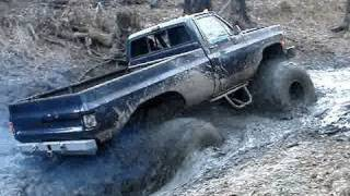 This video is not available. 4 WHEEL STEERING BIG BEAST MUD TRUCKS ON SKIDDER TIRES PLAYIN IN CREEK!!