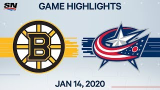 NHL Highlights | Bruins vs Blue Jackets - Jan. 14, 2020