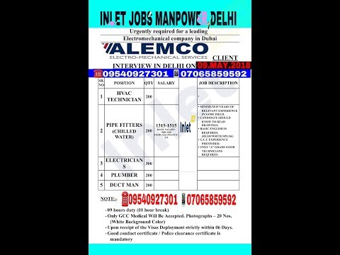 Live JOBS ALERT | Interview On 10th To 15th May 2018 At DELHI - CALL URGENT +919540927301