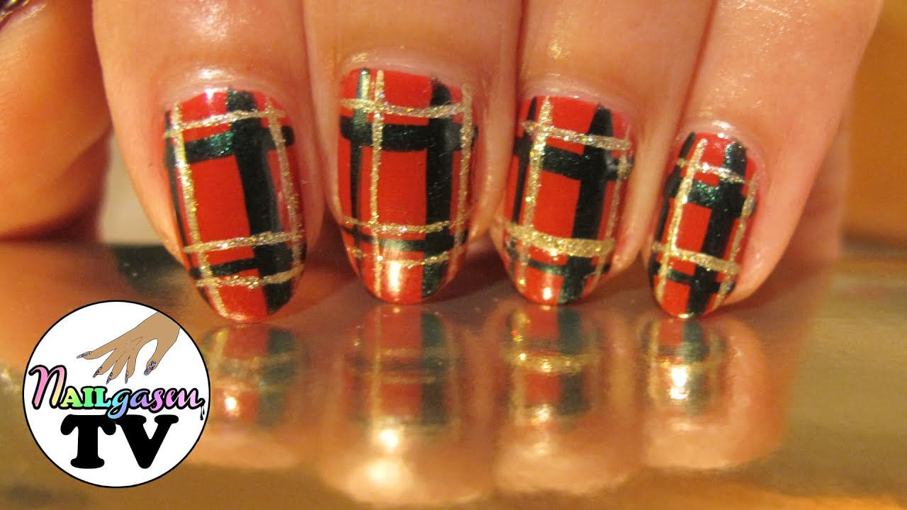Winter Plaid Nail Art Tutorial - YouTube