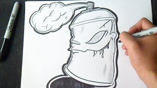 Graffiti Boceto: Cómo dibujar Bote de Spray | How to draw Spraycan
