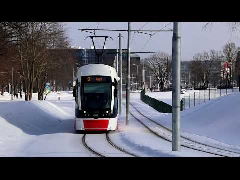 Trams in snowy condition