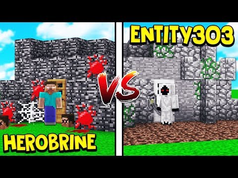ENTITY 303 HOUSE VS HEROBRINE HOUSE! - MINECRAFT