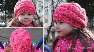 Детский берет спицами - выполнен клиньями