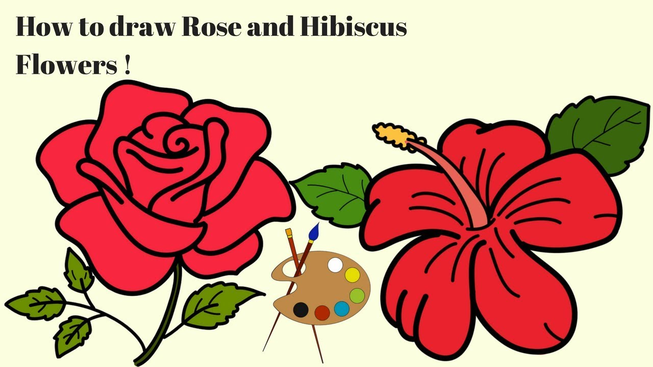 Coloring Pages Flowers| How to Draw and Color | Rose | Hibiscus ...